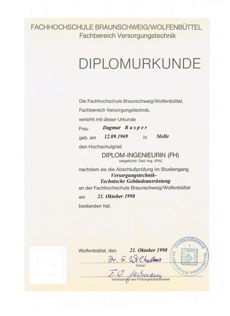 Dagmar Rasper - Diplomurkunde